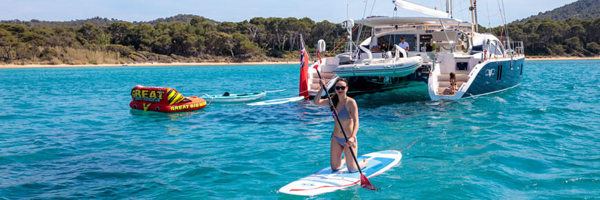 Family charter sailing snorkelling and stand up paddle-boarding